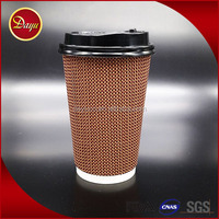 Logo printed biodegradable disposable kraft double wall paper coffee cup with lids
