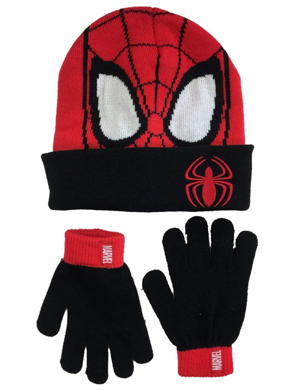 f5bb6635754 Spiderman Boys Red    Black Cuffed Pom Winter Hat    Gloves Beanie Set  Spider