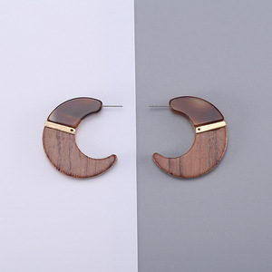 Vintage New Brand Big Half Round Circle Earrings Pendant Female Acrylic Resin Statement Drop Splice Wooden Stud Earrings
