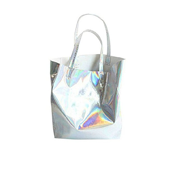 Fashion Women Light Laser PU Leather Shoulder hologram tote bag
