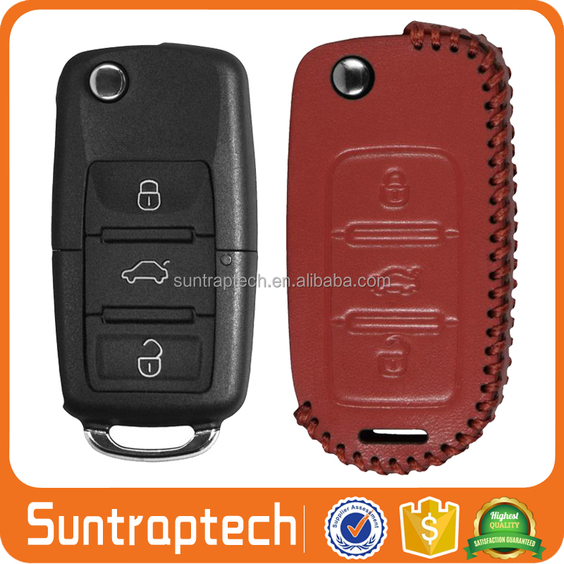 Flip folding Keyless Remote Car Key hand sewing Genuine Leather Case holder for Volkswagen VW new LAVIDA magotan passat CKL24