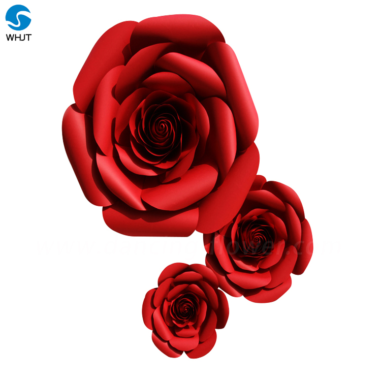 Red rose giant foam paper flower wall artificial flowers for decoration