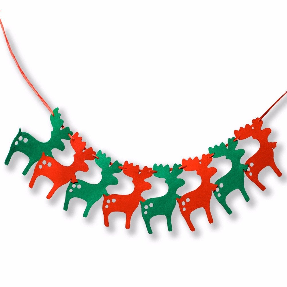 bosuntm mini christmas deer tree decorative flags merry christmas banner banners hanging xmas - Decorative Christmas Flags