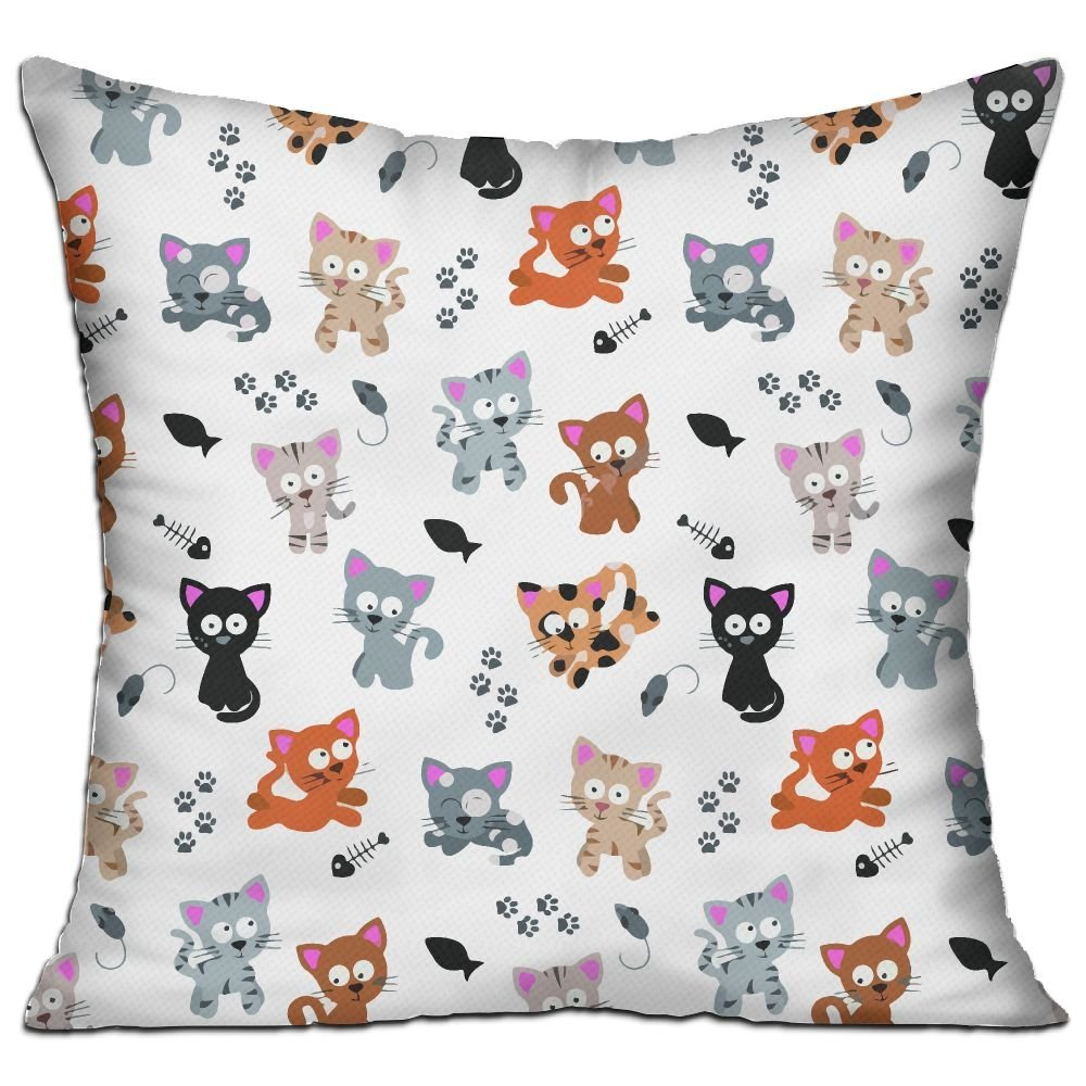 CY STORE Funny Cats With Fish Square Cotton Linen Sofa Cushion Covers Decorative Home Zippered Custom Throw Pillow 18 X 18 Inch(contain Pillow Core)