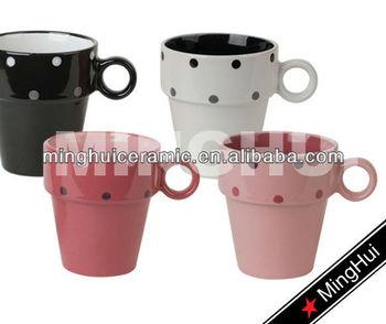 Custom Stoneware Espresso Cups Set Design Decal Printing Stackable