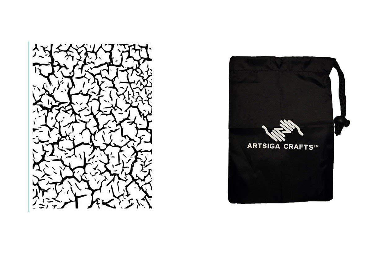 Darice Papercraft Embossing Folder Crackle 4.25 x 5.75 (6 Pack) 1218 57 Bundle with 1 Artsiga Crafts Small Bag