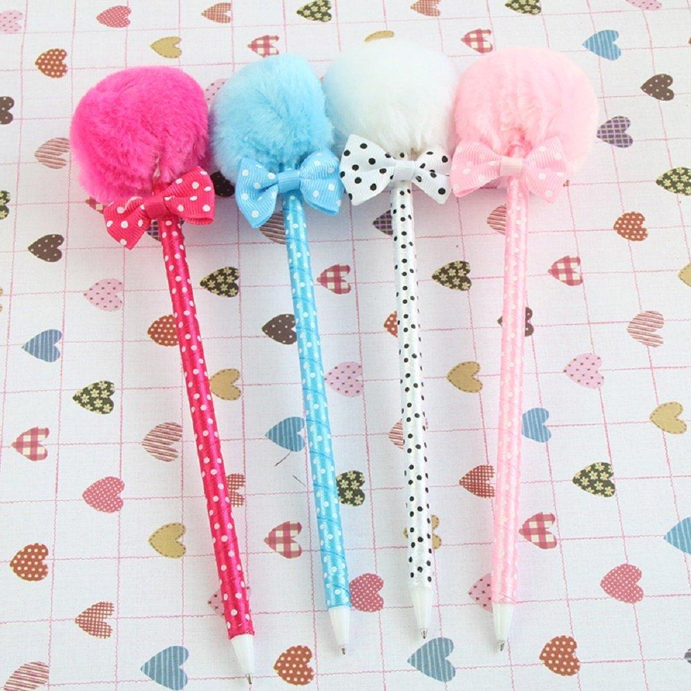 4 Pcs / Pack , Student Prizes Creative Promotional Pens, Balls Plush Ballpoint Pen, Cute Ball-Point Pens School Supplies