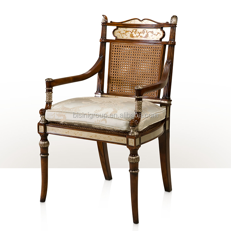 Antique Regency English Victorian Style Solid Wood Carved Armchair with Floral Painted and Rattan Chair Back BF12-05314c