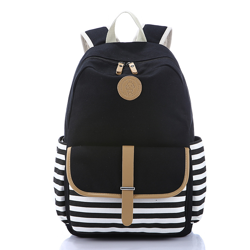 03ac78d05cc5 School Backpack For Teenage Girls School Bag Canvas Schoolbag Backpack For  Girls Cute Strip Rucksacks Women Back Pack - Buy Canvas Backpacks For ...