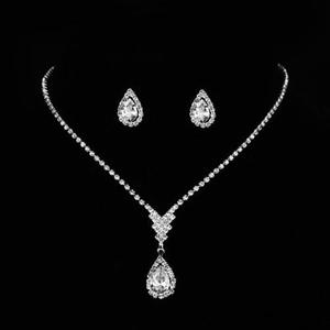 New bulk cheap zinc alloy jewelry classical design pave rhinestone oval shape wedding jewelry set for bridal
