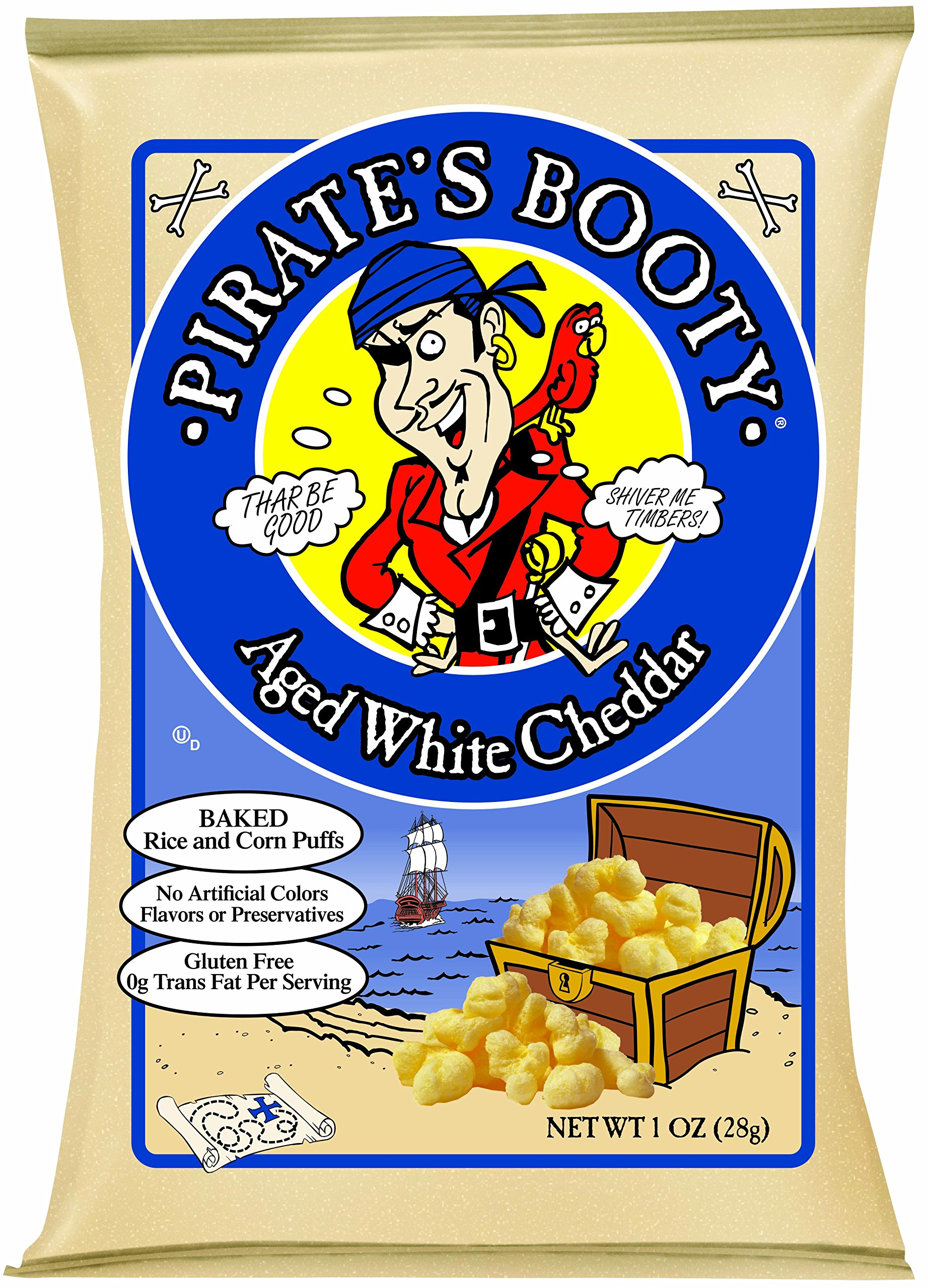 Pirate's Booty Snack Puffs, Aged White Cheddar, 1 Ounce (Pack of 24)
