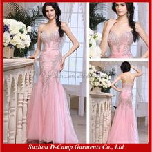 EL144 Strapless sweetheart neckline hand beaded fishtail evening dress wholesale lace evening dress