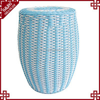 Online Shop in Alibaba Drum Design Blue PE Rattan Durable Desk Stool