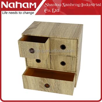 NAHAM Office Small Desktop Wood Paper Drawer Cabinet