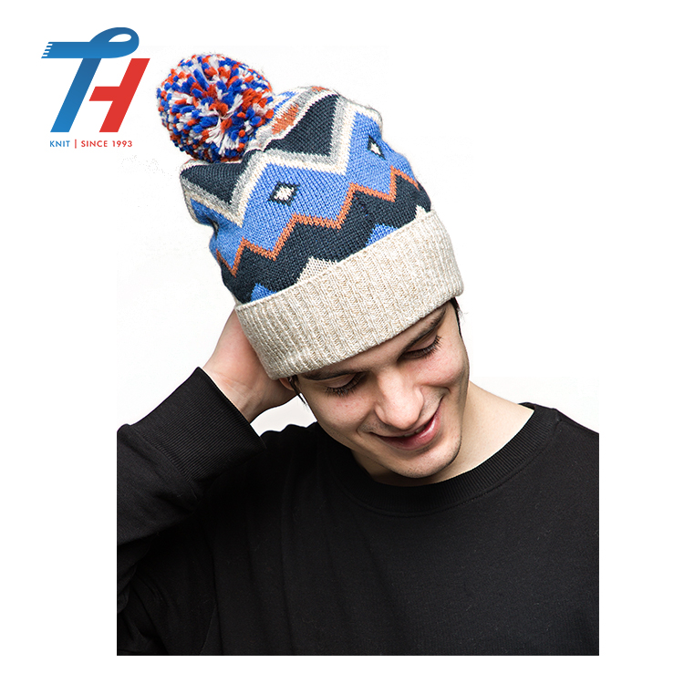 Custom Fashion High Quality Bright Colored Knitted Beanie Winter Hat With  Pom Pom 0bd745b815f