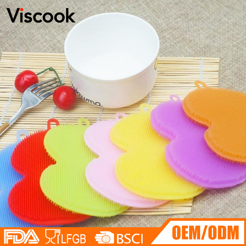 Kitchen Silicone Dish Scrubbers Scratch Free Antibacterial Sponges Multi-purpose Cleaning Brushes, Food Grade