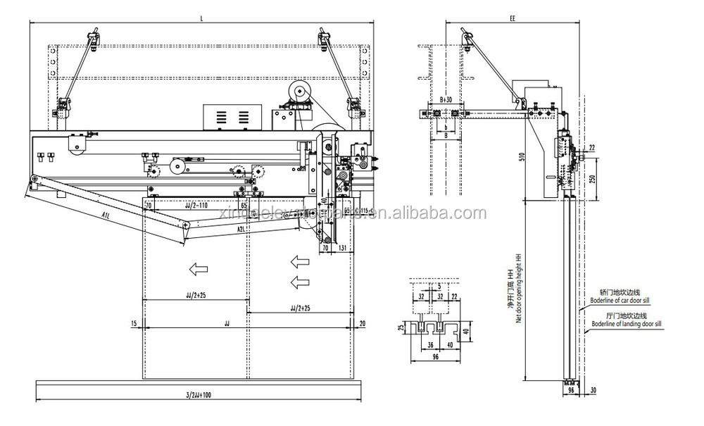 Xd1417d courroies synchrones center ouverture machine de porte op rateur de porte pour cabine - Operateur de porte d ascenseur ...