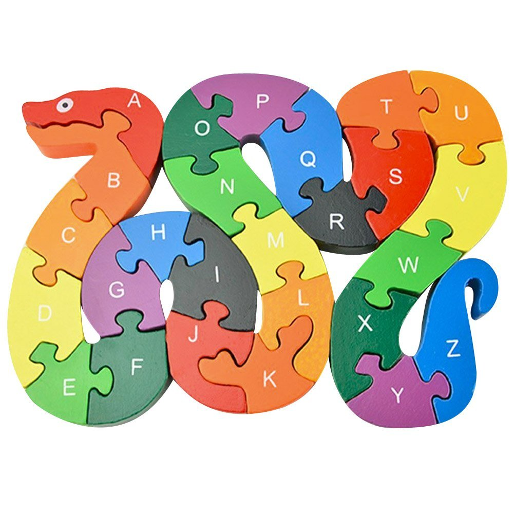 Puraid(TM) Children Educational Toys Puzzle 26 English Alphanumeric Digital Learning Baby Kids Lovely Snake Puzzle Toy Gift FCI#