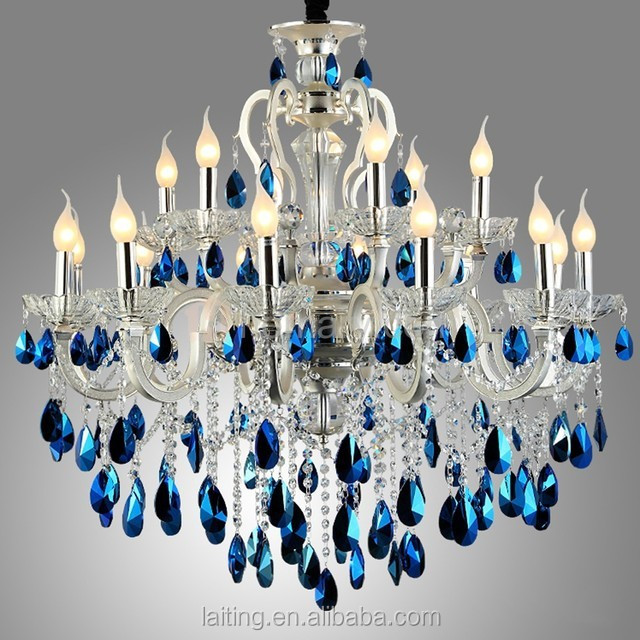 p glass crystal candle blue chandelier grade light type