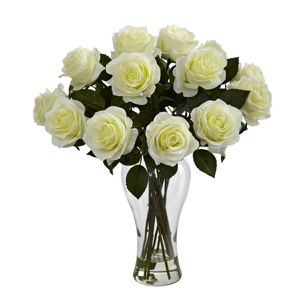 Nearly Natural Home Indoor Decorative Tabletop Fancy Blooming Roses With Vase White