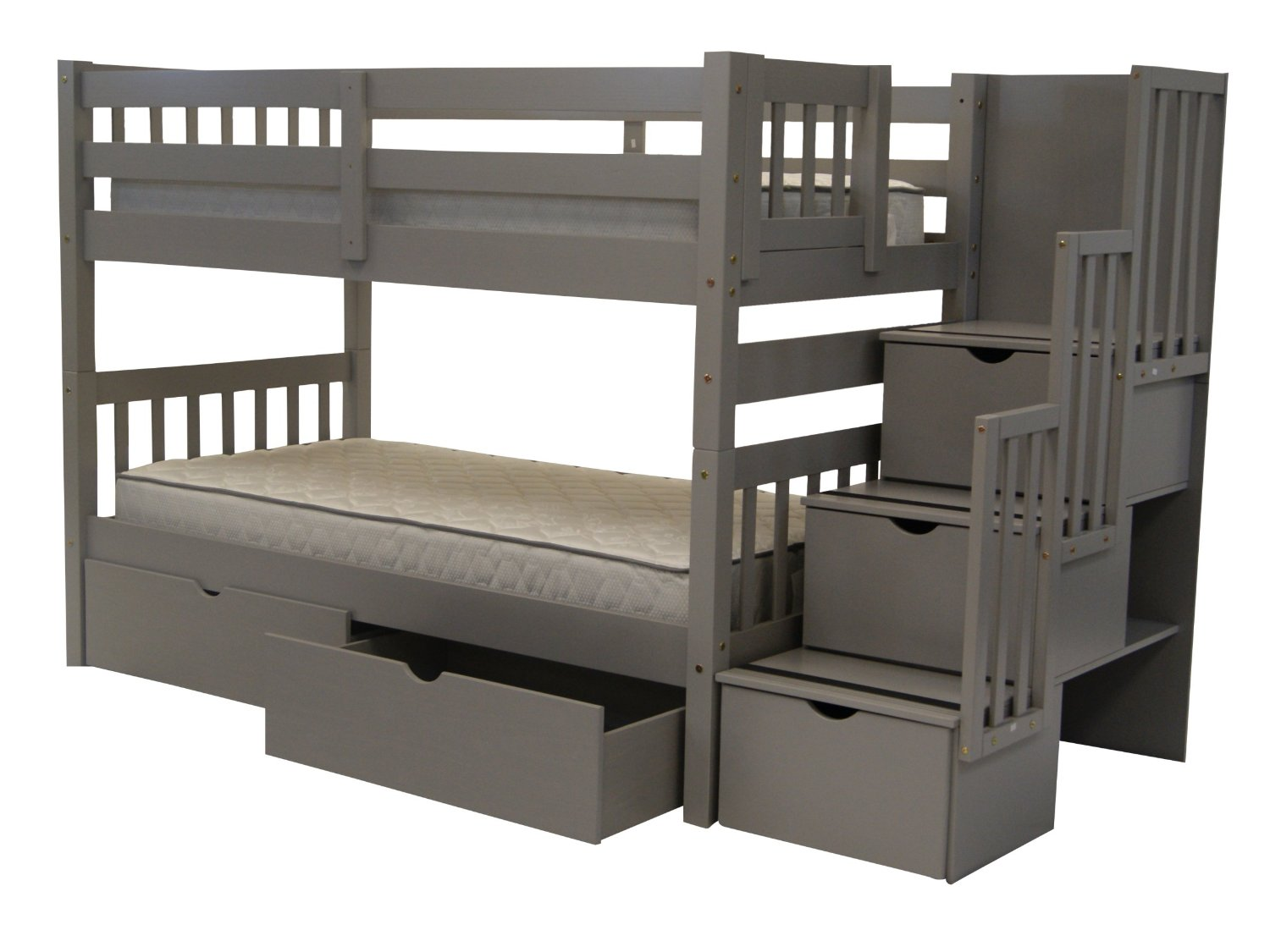 Get Quotations · Bedz King Stairway Bunk Beds Twin Over Twin With 3 Drawers  In The Steps And 2