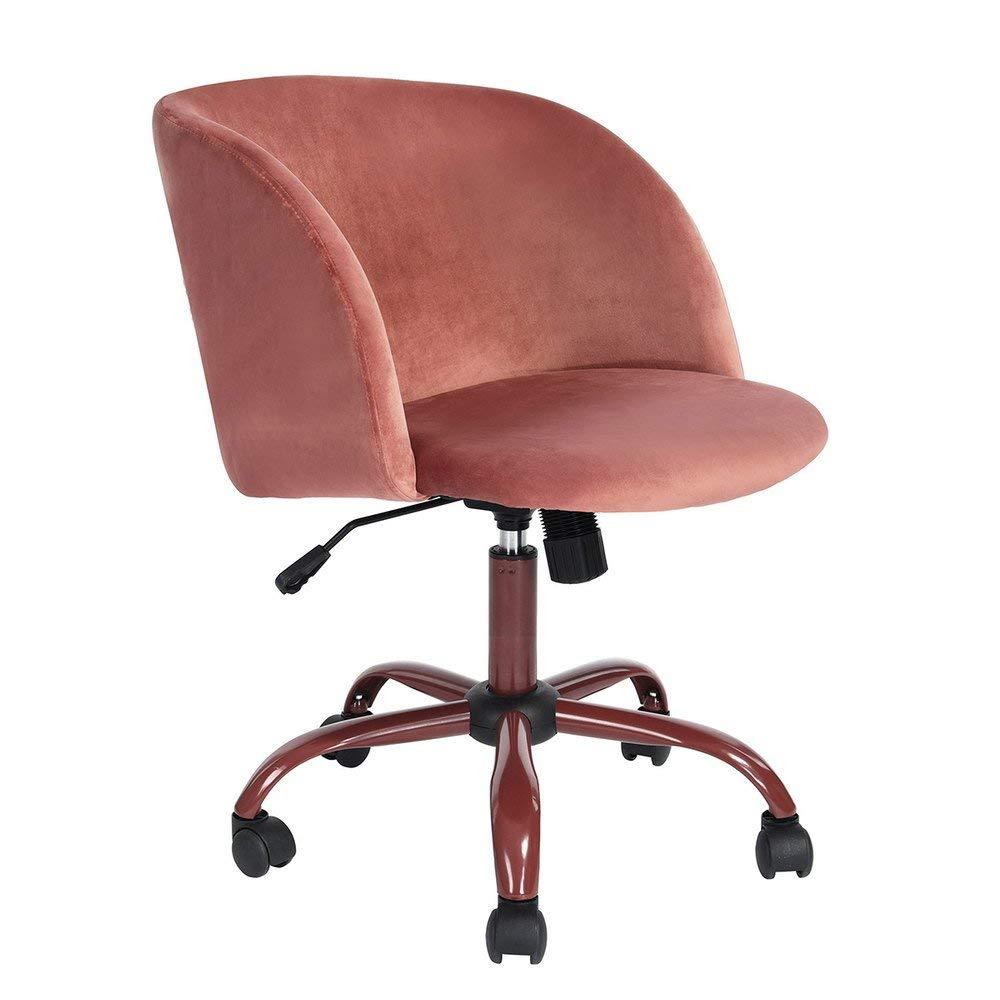 Homy Casa | Swivel Work Office Desk Task Chair | Mid Century Modern Mid-Back Height Adjustable Upholstered Velvet Foam Cushion Seat with 360 Rotation & Castor Wheels (rose pink)