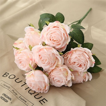 F-1423 Artificial Rose Flower Bouquets Silk 10 Heads Pink Rose Bouquet Floral Flowers Wedding Decoration