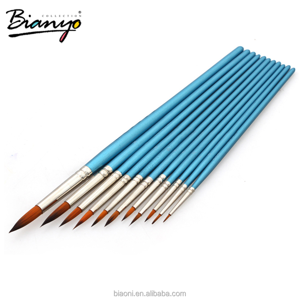 11Pcs/Set Round Head Nylon Hair Artist Detail Paint Brush Set