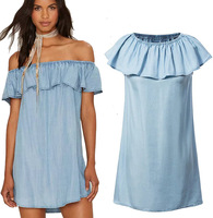 summer baby blue dress sexy off shoulder denim dress falbala dress for women