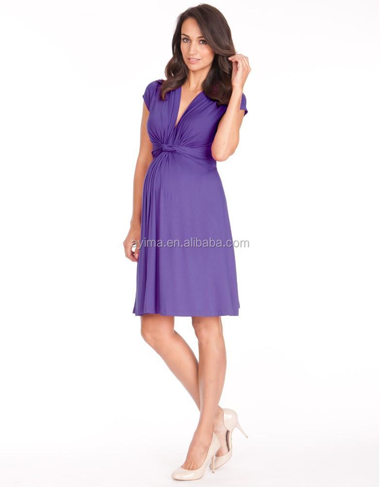 Venta Caliente Púrpura Nudo Frontal Maternidad,Último Vestido ...