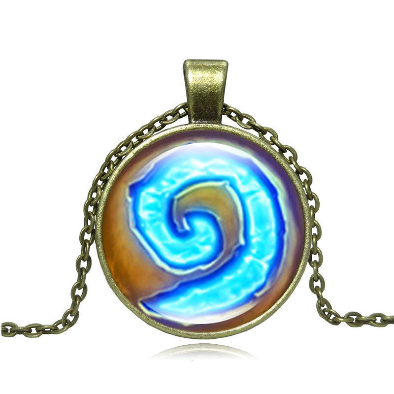 World of War Hearthstone Glass Round Pendant Charm Necklace Fine Jewelry Bronze Link Chain Necklaces & Pendants Gift
