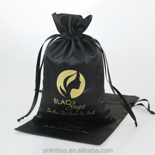 Popular custom design satin drawstring bags for hair <strong>packing</strong>