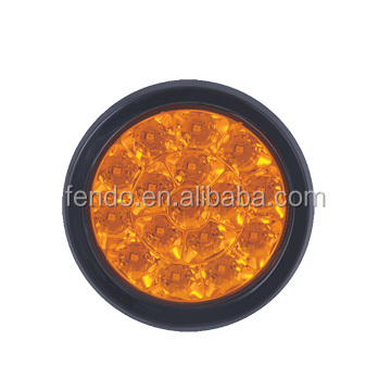 4Inch Universal Waterproof LED Truck Amber Round Indicator Lamp Turning Lighting