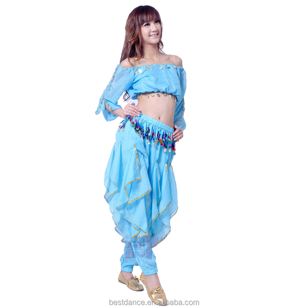 Free shipping <strong>Belly</strong> <strong>Dance</strong> Costume Sets Long Sleeve Top &amp; <strong>Tribal</strong> Gold Wavy Harem Pants 8 Colors