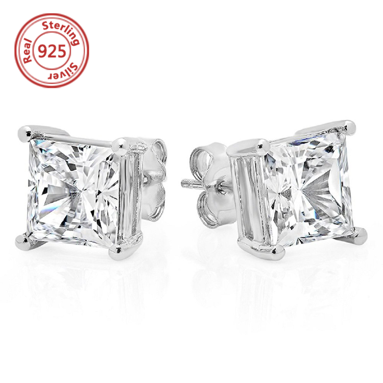 Rhodium Plated jewelry Sterling Silver Stud Earrings jewelry