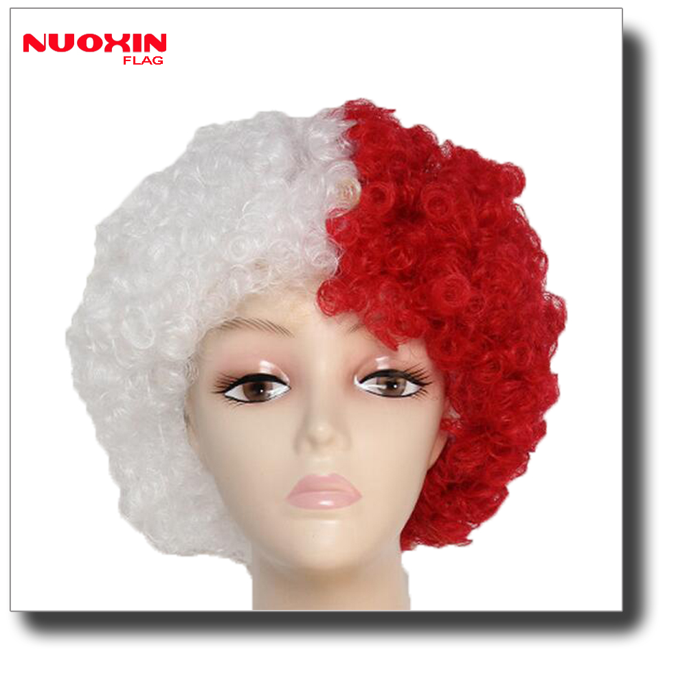 custom make 2018 world cup Polish wig poland wig red white wig
