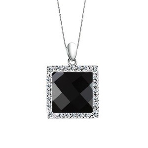 European Style Fashion Jewellery High Quality Matted Neck Accessories Micro Pave Rectangle Black Agate Pendent Silver Jewelry