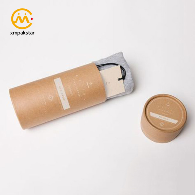 High quality custom logo cardboard paper cylinder tube for scarf t shirts packaging