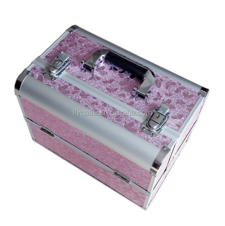 Guangdong hard carry case aluminum cosmetic case with handle
