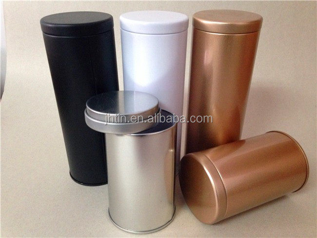 Cylinder Air Empty Coffee Cans Double Lid Style Black White Gold Color For Choice