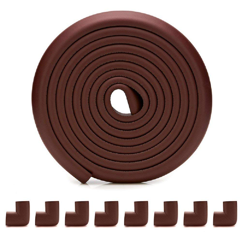Artec360 Edge Protector for Baby Corner Guard Edge & Corner Guards [16.4ft Edge + 8 Corner] -10s to Install- Premium High Density Baby Proof Table Protector-Corner Cushion and Edge Safety (Brown)
