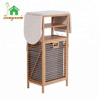 Bamboo Folding Ironing Board Table With Storage Laundry Basket Product