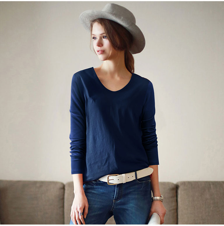 American Style Basic Plain Bulk V-neck Women Long Sleeve Summer Cotton Shirt