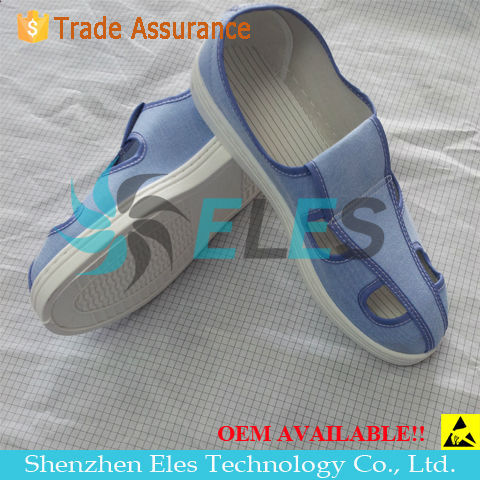 High quality ESD Conductive 4-Holes Butterfly Shoes / Anti-static PVC Safety Working shoes