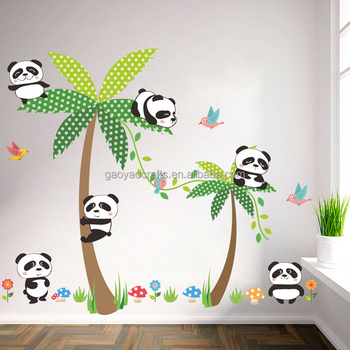 new design cartoon panda coconut tree islands home decoration wall