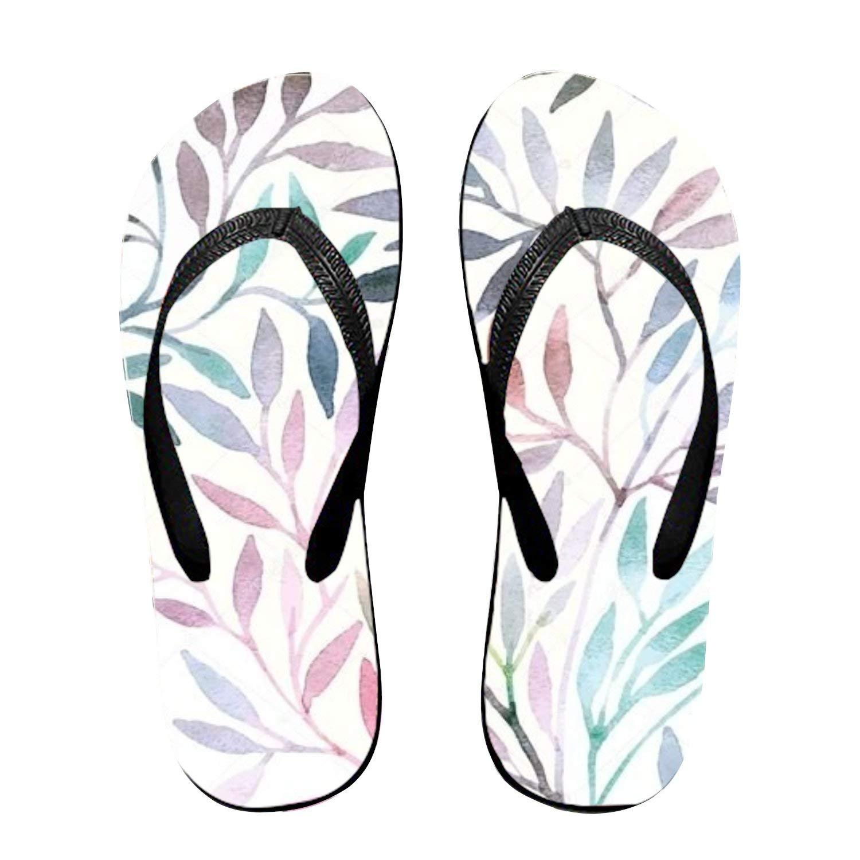 Ltgyth Watercolor Floral Pattern Unisex Flip Flops Sandal for Women/Men Cool Beach Slipper