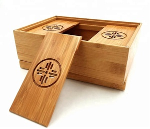 Bamboo fancy tea coffee bag storage box with cover and multifunctional lid