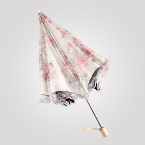 White Lace Umbrella Handmade Cotton Parasol Umbrella Outdoor 2 folding Umbrella
