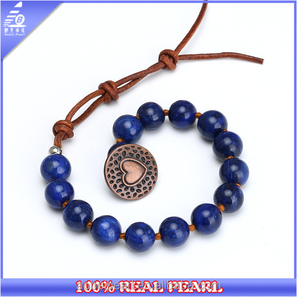 Handmade Beaded Bracelet made of Natural Stone Beads and Genuine Leather, Adjustable Beaded Bracelet for Women, BR-01531