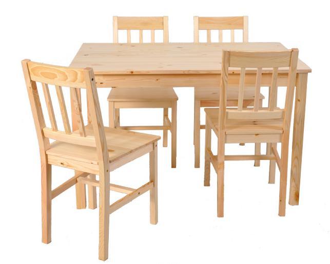 A Cina Pine Wood Dining Meja Dan Kursi